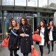 Exclusif - Miss Martinique 2013, Nathalie Fredal, et Miss St Pierre et Miquelon 2013, Clio Victorri, candidates Miss France 2014 à la sortie de TF1 le 14 novembre 2013 à Paris.
