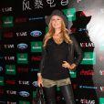 """""""Paris Hilton, tout de cuir vêtue, a assisté au Storm Electronic Music Festival à Shanghaï (Chine), le 16 novembre 2013."""""""