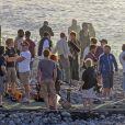 """Exclusif - Ron Howard et Tom Holland sur le tournage du film """"Heart of the sea"""" sur l'île de la Gomera, Canaries, le 20 novembre 2013."""