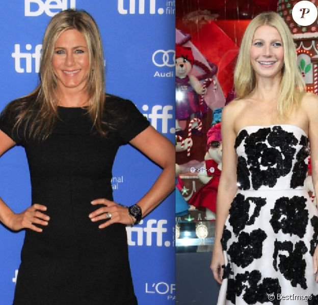 Jennifer Aniston et Gwyneth Paltrow (photomontage) : respectivement le 14 septembre 2013 à Toronto et à Paris le 7 novembre 2011