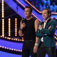 Richard Virenque et Philippe Candeloro, durant le troisième prime d'Ice Show sur M6 à Paris, le 11 décembre 2013.