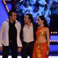 Richard Virenque, Philippe Candeloro et Kenza Farah durant le troisième prime d'Ice Show sur M6 à Paris, le 11 décembre 2013.