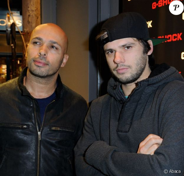 Orelsan et Eric Judorlors de l'inauguration de la nouvelle boutique G-Shock à Paris le 12 décembre 2013.