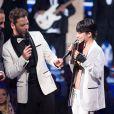 Alizée, Nikos Aliagas et Christophe Maé - 15e cérémonie des NRJ Music Awards à Cannes, le 14 décembre 2013.