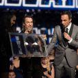 Florent Pagny, Nikos Aliagas et Elodie Frégé - 15e cérémonie des NRJ Music Awards à Cannes, le 14 décembre 2013.