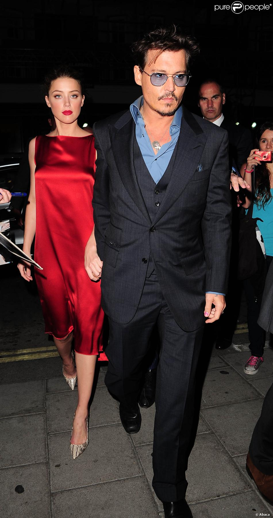 Johnny Depp avec sa girlfriend Amber Heard au C Restaurant à Londres le 21 mai 2013.