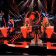 Les quatre coachs lors des auditions à l'aveugle du troisième prime de The Voice 3 le samedi 25 janvier 2014 sur TF1