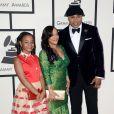 Nina et ses parents Simone Johnson et LL Cool Jarrivent au Staples Center pour la 56e édition des Grammy Awards. Los Angeles, le 26 janvier 2014.