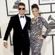 Robin Thicke et sa femme Paula Pattonarrivent au Staples Center pour la 56e édition des Grammy Awards. Los Angeles, le 26 janvier 2014.