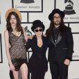 Charlotte Kemp Muhl, Yoko Ono et son fils Sean Lennon arrivent au Staples Center pour la 56e édition des Grammy Awards. Los Angeles, le 26 janvier 2014.