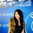 Anggun lors du dîner de gala de la Fondation PSG, le 28 janvier 2014, au Pré Catelan à Paris