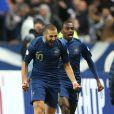 Karim Benzema après la victoire des Bleus face à l'Ukraine le 19 novembre 2013 à Saint-Denis au Stade de France lors des barrages pour le mondial au Brésil