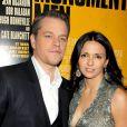 Matt Damon et Luciana Barroso à la première du film The Monuments Men au Ziegfeld Theatre, New York, le 4 février 2014.