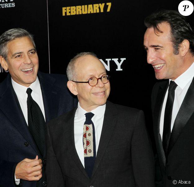 George Clooney, Bob Balaban, Jean Dujardin à la première du film The Monuments Men au Ziegfeld Theatre, New York, le 4 février 2014.