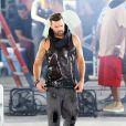Exclusif - Ricky Martin sur le tournage du clip Adrenalina, à Miami le 9 février 2014.
