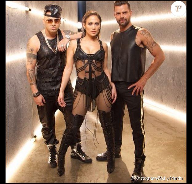 Ricky Martin, Jennifer Lopez et Wisin, sur le tournage d'Adrenalina. Février 2014.