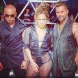 Ricky Martin, Pitbull et Jennifer Lopez sur le tournage du clip Adrenalina, février 2014.