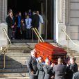 Les funérailles de Philip Seymour Hoffman avec Mimi O'Donnell et ses trois enfants à New York, le 7 février 2014.