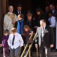 Les trois enfants de Philip Seymour Hoffman, Cooper, Tallulah et Willa, avec leur mère Mimi O'Donnell aux funérailles de PSH à New York, le 7 février 2014.