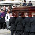 Mimi O'Donnell, la compagne Philip Seymour Hoffman et ses enfants Willa Hoffman, Tallulah Hoffman, Cooper Hoffman lors des obsèques de l'acteur Philip Seymour Hoffman en l'église St. Ignatius de Loyola à New York, le 7 février 2014.
