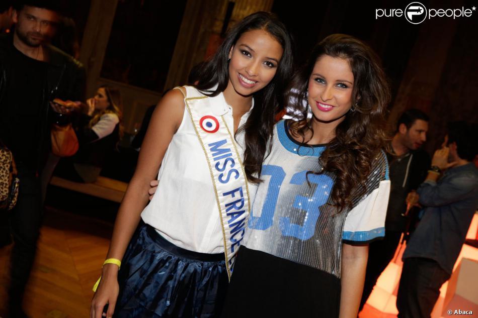 Flora Coquerel et Malika Ménard - 11e anniversaire de la marque Eleven Paris à la Gaîté Lyrique à Paris, le 4 mars 2014.