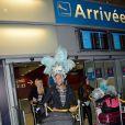 Charlotte, Paga et Stephanie de retour à Paris après le tournage de l'émission 'Les Marseillais a Rio' pour W9, le 6 mars 2014, à l'aéroport Roissy Charles de Gaulle.