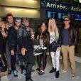 Charlotte, Kim, Romain, Paga, Julien,Stephanie, Jessica et Micha de retour à Paris après le tournage de l'émission 'Les Marseillais a Rio' pour W9, le 6 mars 2014, à l'aéroport Roissy Charles de Gaulle.