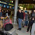Micha de retour a Paris apres le tournage de l'emission 'Les Marseillais a Rio' pour W9, le 06 mars 2014, a l'aeroport Roissy Charles de Gaulle, Paris.