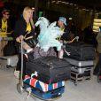Micha, Charlotte et Paga de retour a Paris apres le tournage de l'emission 'Les Marseillais a Rio' pour W9, le 06 mars 2014, a l'aeroport Roissy Charles de Gaulle, Paris.