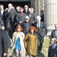 Sabine Azéma, Aurélie Filippetti, Michel Vuillermoz, Pierre Arditi, André Dussollier, Denis Podalydès lors des funérailles d'Alain Resnais en l'église Saint-Vincent-de-Paul à Paris le 10 mars 2014
