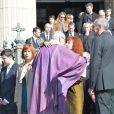 Sabine Azéma, Camille Bordes-Resnais (fille d'Alain Resnais) lors des funérailles d'Alain Resnais en l'église Saint-Vincent-de-Paul à Paris le 10 mars 2014