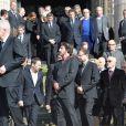 Mathieu Amalric, André Dussollier, Jean-Louis Livi, Denis Podalydès, Jack Lang, Jean-Michel Ribes lors des funérailles d'Alain Resnais en l'église Saint-Vincent-de-Paul à Paris le 10 mars 2014
