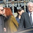 Pierre Arditi, Sabine Azéma, André Dussollier lors des funérailles d'Alain Resnais en l'église Saint-Vincent-de-Paul à Paris le 10 mars 2014