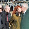 Pierre Arditi, Michel Vuillermoz, Sabine Azéma, André Dussollier lors des funérailles d'Alain Resnais en l'église Saint-Vincent-de-Paul à Paris le 10 mars 2014