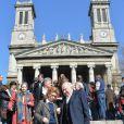 Michel Piccoli et femme Ludivine Clerc lors des funérailles d'Alain Resnais en l'église Saint-Vincent-de-Paul à Paris le 10 mars 2014