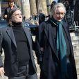 Jean-Pierre Léaud lors des funérailles d'Alain Resnais en l'église Saint-Vincent-de-Paul à Paris le 10 mars 2014