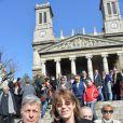 Jane Birkin lors des funérailles d'Alain Resnais en l'église Saint-Vincent-de-Paul à Paris le 10 mars 2014