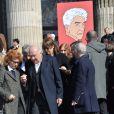 Michel Piccoli et femme Ludivine Clerc, Jane Birkin lors des funérailles d'Alain Resnais en l'église Saint-Vincent-de-Paul à Paris le 10 mars 2014
