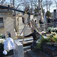 L'inhumation d'Alain Resnais au cimetière du Montparnasse à Paris le 10 mars 2014
