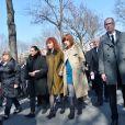 Sabine Azéma, Camille Bordes-Resnais, André Dussollier lors de l'inhumation d'Alain Resnais au cimetière du Montparnasse à Paris le 10 mars 2014