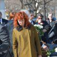 Sabine Azéma lors de l'inhumation d'Alain Resnais au cimetière du Montparnasse à Paris le 10 mars 2014