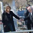 Jane Birkin, Michel Piccoli - Obsèques d'Alain Resnais au cimetière du Montparnasse à Paris le 10 mars 2014.  Funeral of Alain Resnais at Montparnasse Cemetery on 10/03/2014.10/03/2014 - Paris