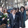 Mathieu Amalric - Obsèques d'Alain Resnais au cimetière du Montparnasse à Paris le 10 mars 2014.  Funeral of Alain Resnais at Montparnasse Cemetery on 10/03/2014.10/03/2014 - Paris