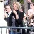 Sandrine Kiberlain - Obsèques d'Alain Resnais au cimetière du Montparnasse à Paris le 10 mars 2014.  Funeral of Alain Resnais at Montparnasse Cemetery on 10/03/2014.10/03/2014 - Paris