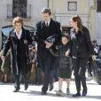 Des proches lors des funérailles de María de la Concepción Sáenz de Tejada y Fernández de Boadilla, célébrées le 16 mars 2014 à Soria.