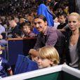 Zlatan Ibrahimovic, sa compagne Helena Seger et leurs enfants Vincent et Maximilian lors du BNP Paribas Masters Series Tennis Open 2013, au Palais Omnisports de Paris-Bercy, à Paris, le 3 novembre 2013