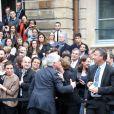 La nouvelle ministre de l'Ecologie, du Développement durable et de l'Energie Ségolène Royal pendant le discours de l'ancien ministre Philippe Martin, lors de la passation de pouvoir au ministère de l'Ecologie, à Paris, le 2 avril 2014.
