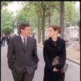 Emmanuelle Béart et Daniel Auteuil - Obsèques de Claude Sautet en 2000.