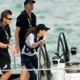 Catherine, Duchess of Cambridge takes the helm of an America's Cup yacht as she races Prince William in Aukland Harbour, New Zealand on April 11, 2014. The Duchess won. Photo by Anwar Hussein/PA Photos/ABACAPRESS.COM11/04/2014 - Auckland