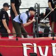 Prince William, Duke of Cambridge takes the helm of an America's Cup yacht as he races Catherine, Duchess of Cambridge in Aukland Harbour, New Zealand on April 11, 2014. The Duchess won. Photo by Anwar Hussein/PA Photos/ABACAPRESS.COM11/04/2014 - Auckland